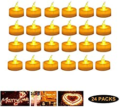 Gluckluz Candle Light LED Tealight Candles Lamp Flameless Votive Candle Lantern Battery Operated Lighting for Wedding Valentine's Day Honeymoon Anniversary Gathering Festival Decoration(24Packs,Warm)
