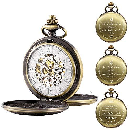 TREEWETO Herren Taschenuhr Personalisiert Gravur Taschenuhr mit Kette Klassische Jahrgang Mechanische Geschenke Geschenk zum Geburtstag Vatertag Vater Vatertagsgeschenk, Bronze