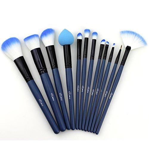 Glow 30 qualité professionnelle Pinceaux de maquillage (12 Lot de pinceaux de maquillage, Bleu)