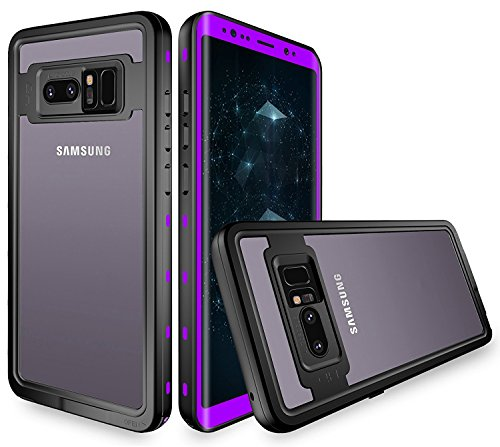 Galaxy Note 8 Waterproof Case,Underwater IP68 Certified Waterproof Dustproof Snowproof Shockproof Full-Body Protective with Transparent Back Cover Case for Samsung Galaxy Note 8 (Purple)