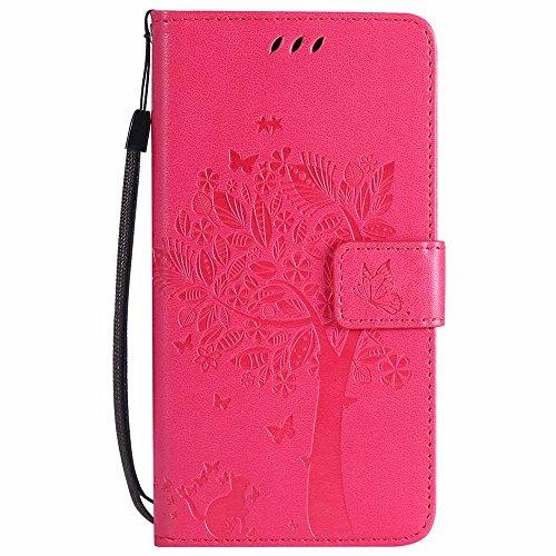 Wiko Leny 4 Hülle, C-Super Mall-UK Prägung Baum Katze Schmetterling Muster PU Leder Brieftasche Ständer Flip Schutzhülle für Wiko Leny 4-Rose Rot