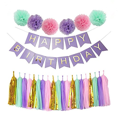 Mefuny Perfect Purple Happy Birthday Banner Decoration Set Fluffy Pom Poms with Tassel Garland for Party Hanging Decoration Favor