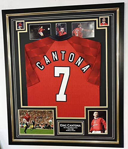 www.signedmemorabiliashop.co.uk Signiertes Foto mit Trikot von Eric Cantona of Manchester United