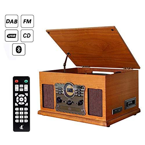Giradischi dl 7-in-1 Lettore CD in legno vintage Lettore USB Lettore in vinile non Bluetooth, Altoparlanti stereo integrati Giradischi in vinile, Codifica USB, Jack per cuffie da 3,5 mm, RCA, AUX IN