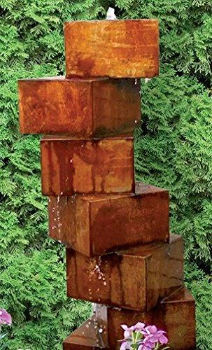 garten-wohnambiente Würfeltreppe Cortenstahl Roststahl 100 cm Komplettset Wassersäule Springbrunnen