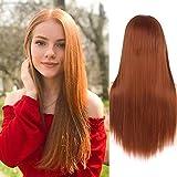 Peluca naranja peluca de pelo largo y recto para mujeres niñas parte central sintética peluca de cosplay fiesta personalizada de Halloween
