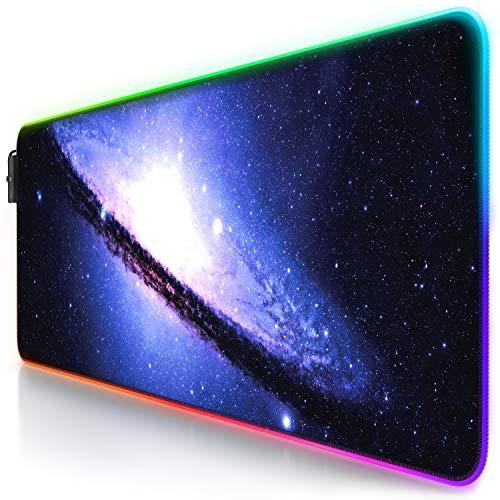 CSL-Computer Titanwolf - RGB Gaming Mauspad - LED Schreibtischunterlage - 800x300 mm - XXL Mousepad - LED Multi Color - 11 Beleuchtungs-Modi - 7 LED Farben Plus 4 Effektmodi - abwaschbar - Galaxy