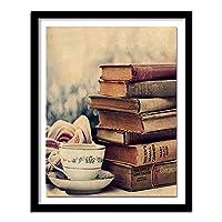ダイヤモンド絵画古書一杯のお茶ダイヤモンド刺繡リラックス読書時間書斎の工芸品の装飾正方形40x50cm