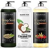Majestic Pure Castor Oil, Fractionated Coconut Oil, and Hemp Seed Oil Bundle, 16 fl oz each