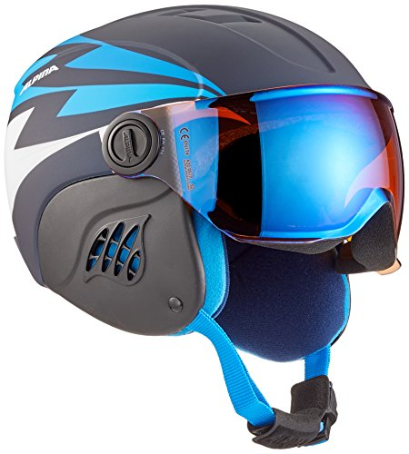 Alpina Kinder Carat LE Visor HM Skihelm, Nightblue-Denim matt, 51-55 cm