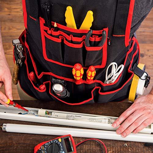 NoCry Heavy Duty Work Apron - 26 Tool Pockets, Tape Measure Holder, D Ring Loop, Black Waterproof...
