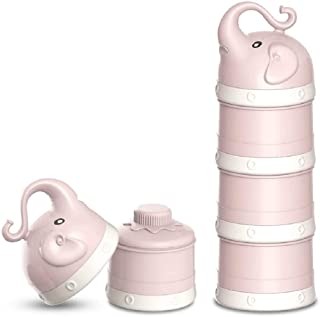 ALITREND Portable BPA Free Baby Formular Dispenser Container for Fruits Snack Baby Milk Powder Dispenser with Free Scoop Pink