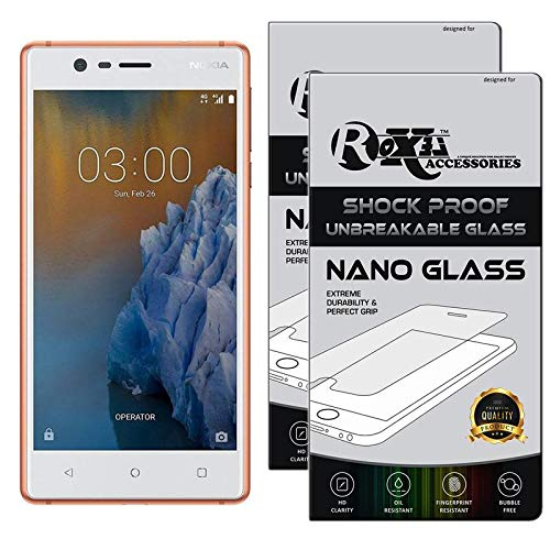 Roxel {Pack of 2} Nokia 3 Flexiable Nano Glass Screen Protector with Unbreakable Nano Film Glass [ Better Than Tempered Glass ] Screen Protector for Nokia 3 (Copper White, 16 GB) (2 GB RAM)