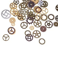 BESTIM INCUK 120 Gram Antique Bronze Vintage Skeleton Keys Steampunk Gears Cogs Charms Pendant Clock Watch Wheel for Jewelry Making Supplies, Steampunk Accessories, Craft Projects (Approx 80pcs) #4