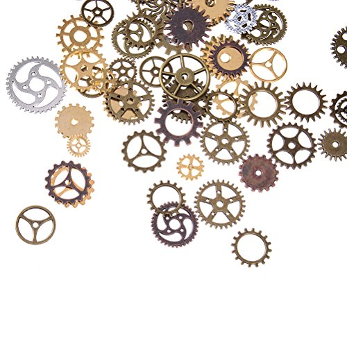 BESTIM INCUK 120 Gram Antique Bronze Vintage Skeleton Keys Steampunk Gears Cogs Charms Pendant Clock Watch Wheel for Jewelry Making Supplies, Steampunk Accessories, Craft Projects (Approx 80pcs) steampunk buy now online