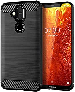 Simple Nokia 8.1 case silicone soft phone shell anti fall shockproof protective sleeve black cover