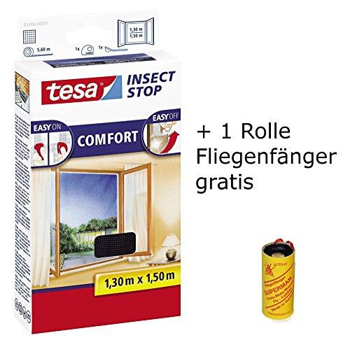 tesa Insect Stop Comfort Fliegengitter für bodentiefe Fenster/Insektenschutz mit Selbstklebendem Klettband in Anthrazit + 1 Rolle Fliegenfänger Gratis (3X 130 cm x 150 cm)