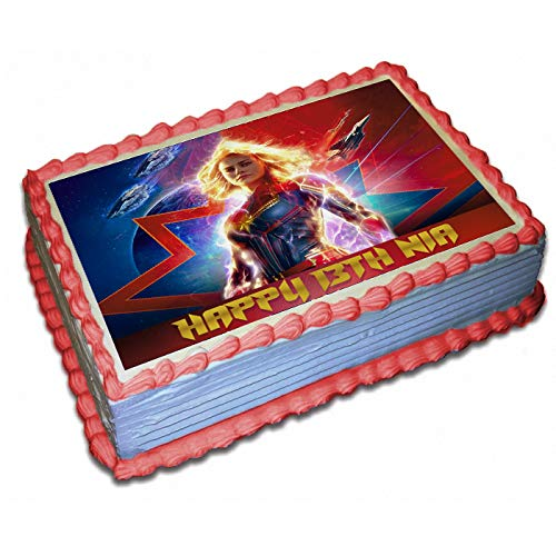 Terrific Captain Marvel Personalized Cake Toppers Icing Sugar Paper 1 4 8 5 Personalised Birthday Cards Cominlily Jamesorg