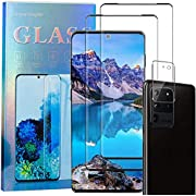 Samsung S20 Ultra Screen Protector,Galaxy S20 Ultra Full Coverage Tempered Glass[2+1 Pack]Camera Lens Protector[3D Curved][Anti-Scratch]3D HD Fingerprint Unlock Protector for Samsung Galaxy S20 Ultra