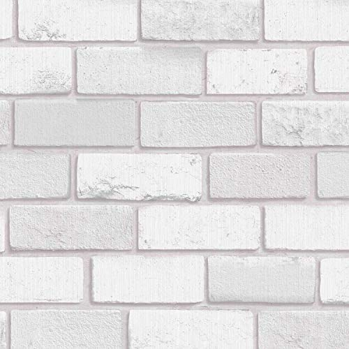 Arthouse Diamond White Brick 902009 Tapete, weiß, Wallpaper 902009-Vinyl Glitter Faux Wall