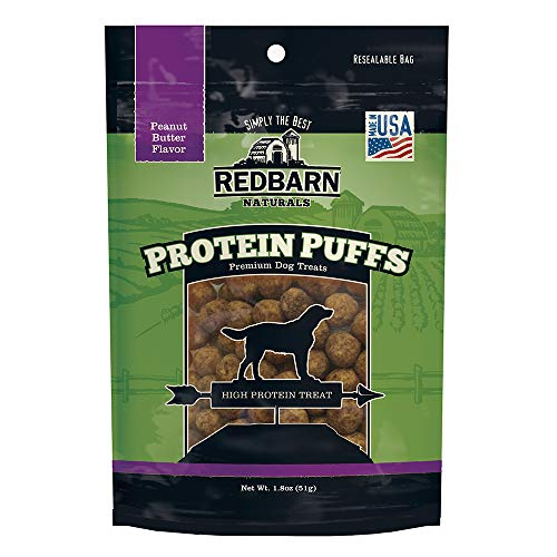 Redbarn Protein Puffs for Dogs   A Human-Grade High-Protein Training Treat or Food Topper   Made in The USA (Peanut Butter, Pack of 2)