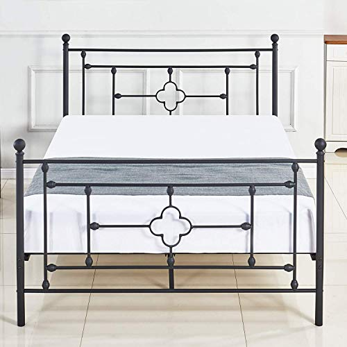 sleepanda Metal Bed Frame.Metal Platform Mattress Foundation.The Country Style Iron-Art Double Bed Antique Baking Paint.Sturdy Metal Frame Premium Steel Slat Suppot Warranty Five Year. (Full)
