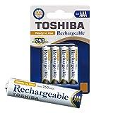 TOSHIBA AAA Akku Batterien 750 mAh min., Ready-to-Use Ni-MH, 1.2V 4er Pack, für telefon, 1500 Ladezyklen, geringe Selbstentladung, sofort einsatzbereit