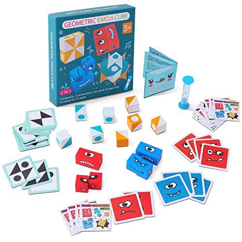 Emoji de Madera, Puzzle Building Cubes Emoji, Cubos de Cambio de Cara de Juguete, Rompecabezas Entrenamiento de Pensamiento Educativos Regalo para Preescolar (Geometric)