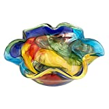 Badash Stormy Rainbow Murano-Style Art Glass Decorative Bowl - 8.5' Mouth-Blown Glass Floppy Centerpiece Bowl - Home Decor Accent