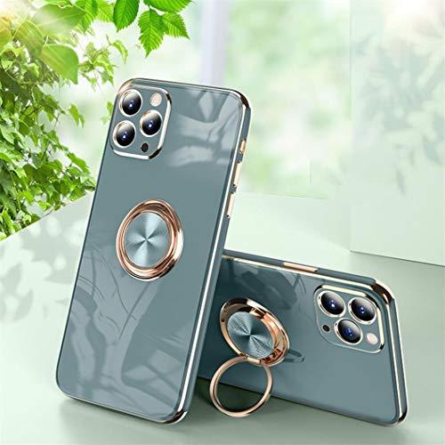 Jacyren Funda para iPhone 12 Pro, funda para iPhone 12 Pro, funda de silicona ultrafina con soporte magnético para el coche con soporte de 360 grados para el iPhone 12 Pro (5Oma gris)