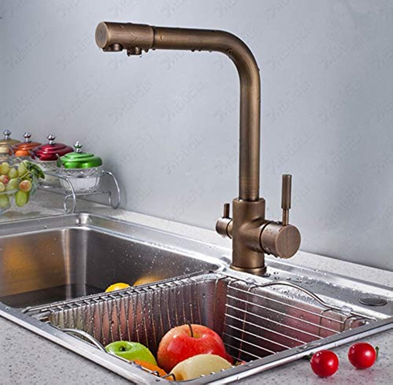FZHLR Klassische Antike Gebürstet Bronze Dual Griff 3 Way Küchenspüle Mischbatterie 2 -Auslass Trinkwasser Hahn Mit Filter 360 Grad Schwenkbar