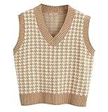 Sdencin Women Houndstooth Pattern Knit Sweater Vest Sleeveless Loose V-Neck 90s Waistcoat Pullover Knitwear Top Khaki