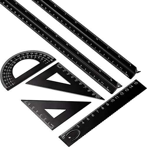 6 Pieces Aluminum Triangular Architect Scale Ruler Set 2 Pieces 12 Inch Aluminum Scale Ruler product image