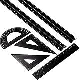 Conjunto de Regla Arquitecta Triangular de Aluminio de 6 Piezas, 2 Piezas de Regla de Aluminio de 12 Pulgadas con 4 Piezas de Regla Triangular Cuadrado de Alumino