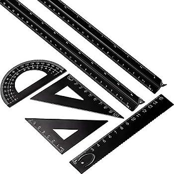6 Pieces Aluminum Triangular Architect Scale Ruler Set 2 Pieces 12 Inch Aluminum Scale Ruler with 4 Pieces Aluminum Triangle Ruler Square Set for Students Draftsman and Engineers Metric  Black
