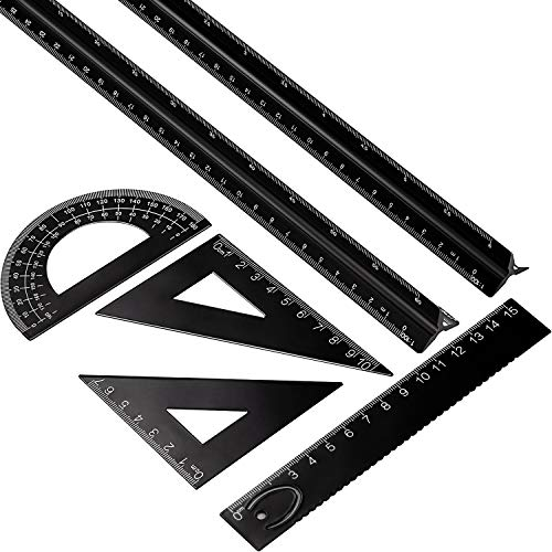 6 Pieces Aluminum Triangular Architect Scale Ruler Set, 2 Pieces 12 Inch Aluminum Scale Ruler with 4 Pieces Aluminum Triangle Ruler Square Set for Students, Draftsman and Engineers, Metric (Black)