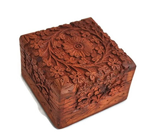 Artncraft Jewelry Box Novelty Item, Unique Artisan Traditional Hand Carved Rosewood Jewelry Box From India Inside