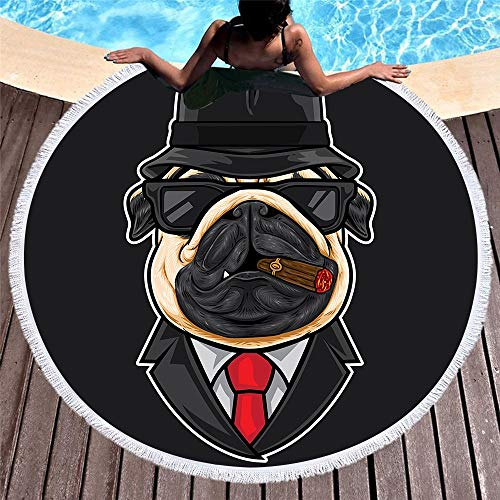 ETH Persoonlijkheid Printen Cartoon Beach Handdoek Zwembad Kussen Microvezel Sneldrogende Sjaal Fringed Side Zwart 150 * 150cm duurzaam
