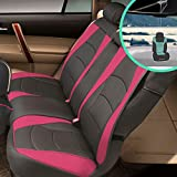 FH Group PU205013 Ultra Comfort Highest Grade Faux Leather Seat Cushions (Pink) Rear Set with Gift – Universal Fit for Cars Trucks & SUVs