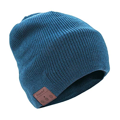 SoundBot¨ SB210 HD Stereo Bluetooth 4.1 Wireless Smart Beanie Headset Musical Knit Headphone Speaker Hat Speakerphone Cap,Built-in Mic (Blue)