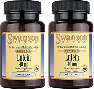 Swanson Ultra Lutein 40mg -- 2 Bottles each of 60 Softgels