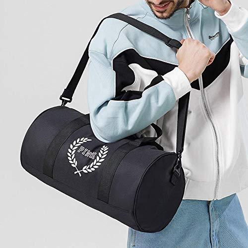 HuiHang Sportgepäcktasche Schulterzylinder Sport Fitness Tasche Trainingstasche Yogatasche Tanztasche Outdoor Freizeit Reisetasche-Black_M