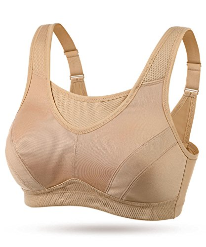 WingsLove High Impact Wirefree Workout Sport Bra (Nude,38B)