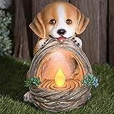 GloBrite Garten-Solar-Lichtlaterne aus Kunstharz, Gartendeko, Dekofigur, Dekoration (Hund)
