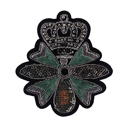 EMDOMO Vintage Crown Bee Badges Beaded Militaire Applique Versierde Patches voor pak T-shirt Kleding Accessoires 2 stuks