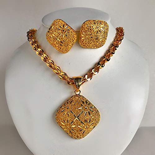 YDY Dubai Arab Gold Color Flower Shell Juego de Joyas de Boda para Mujeres Pendiente/Collar Big Pandent Mujeres Halloween, Set8, con Cadena de 45 cm