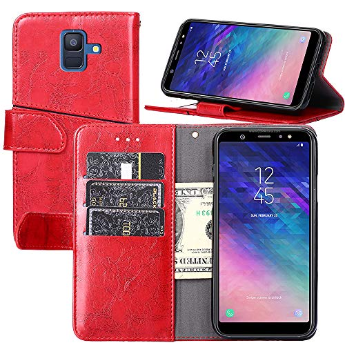 Galaxy A6(2018) Wallet Case, YEEGG Wallet Case for Samsung Galaxy A6(2018) [Stand Feature] Protective PU Leather Flip Cover with Credit Cards Slot,Side Cash Pocket and Magnetic Clasp Closure(Red)