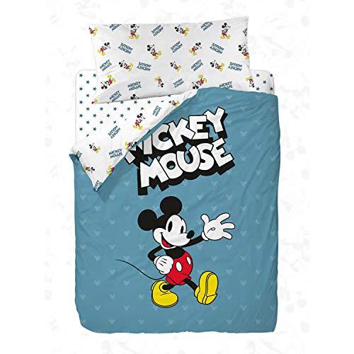 Disney Mickey 90's Blue Funda Nórdica de 3 Piezas para Cama, Cotton, Multicolor, 90