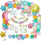 weeyin Decoration Anniversaire Fille arc en ciel, Ballons Anniversaire fête avec bannière Happy Birthday,étoile arc-en-ciel kit anniversaire fille Ballons pour Deco Anniversaire Filles Réutilisable