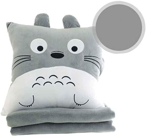 garantizado Totoro Peluche Juguete De Felpa Totoro con Manta Almohada Almohada Almohada Tres En Uno Almohada Doble Uso Sofá Plegable Oficina Almuerzo Descanso Almohada Multifunción,A,S  lo último